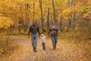 Family hiking in Vilas County