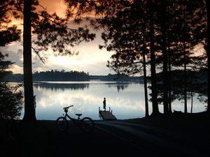 Vilas biking and lake at sunset