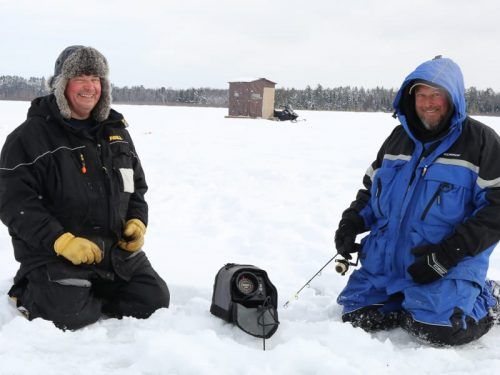 Ice Fishing In Conover, Wisconsin.