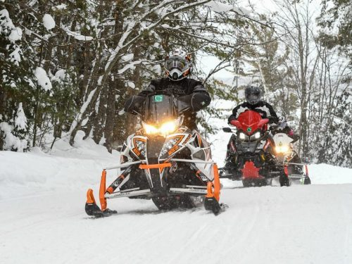 Snowmobiling In Eagler River, Wisconsin.