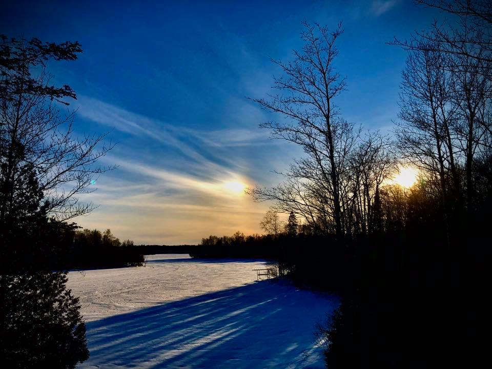oxbow lake in winter vilas county wi